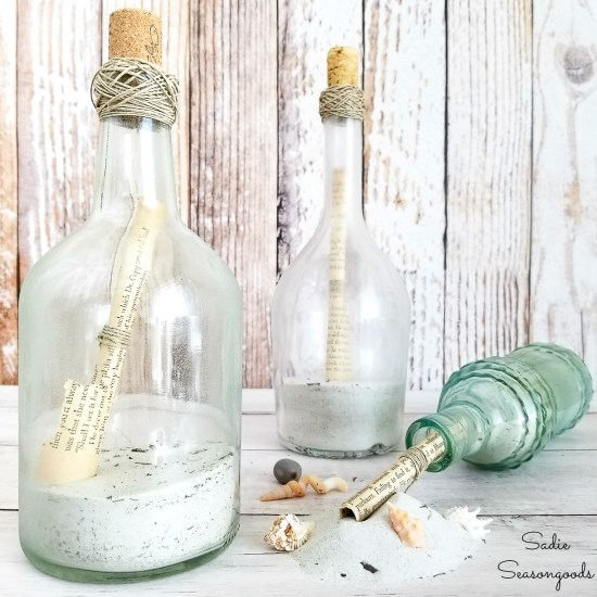 Message in a Bottle as glass bottle crafts for beach wedding decor