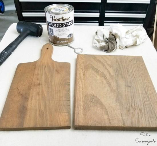 Briarsmoke wood stain on farmhouse kitchen accessories