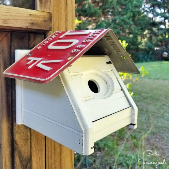 Wren bird house by upcycling a wood tissue box cover