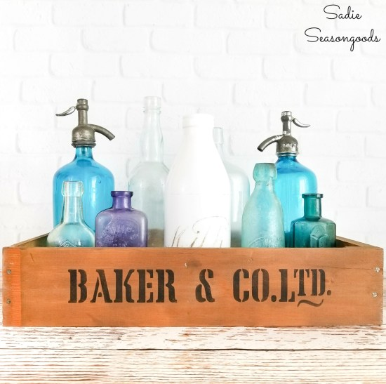 Rustic wooden crates from old drawers for vintage farmhouse decor