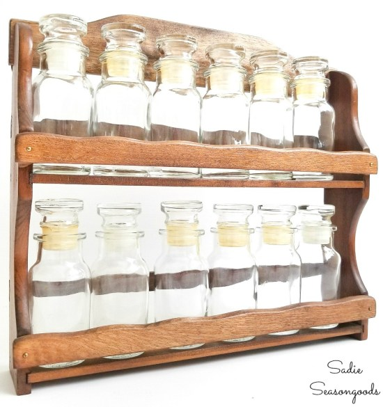 Upcycling a vintage spice rack as a sand collection display