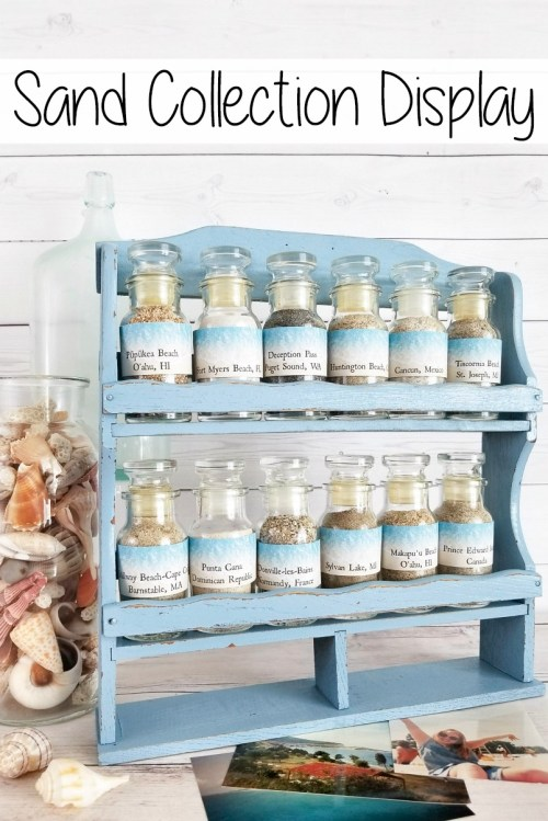 Vintage spice rack as a sand collection display for beach souvenirs
