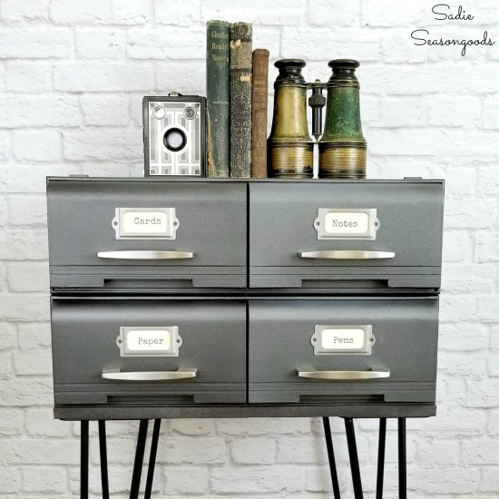 Industrial bedside table or modern industrial furniture that started as VHS storage or cassette tape storage by Sadie Seasongoods