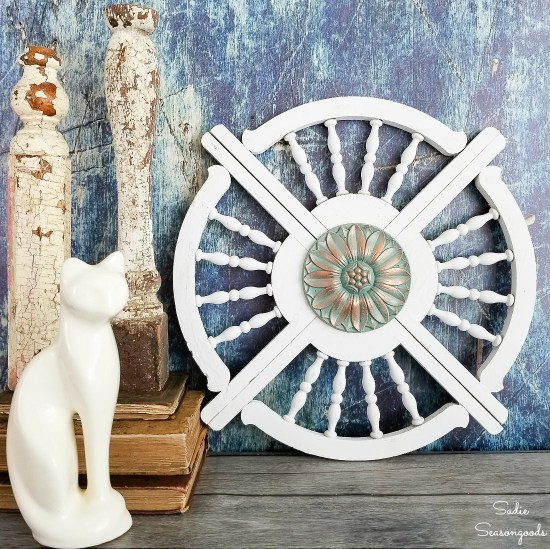 Upcycling idea for architectural salvage or porch brackets as reclaimed wood wall art