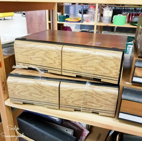 VHS storage at thrift store for upcycling projects