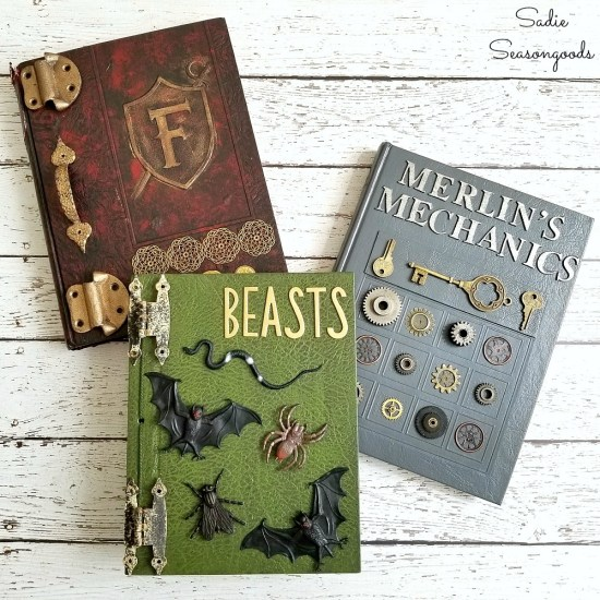 Halloween decor with a Book of Spells or Book of Shadows that started as a thrift store book and old yearbooks by Sadie Seasongoods