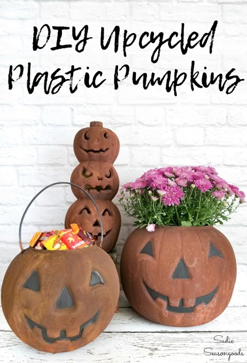 How to upcycle the plastic pumpkins with rust effect paint