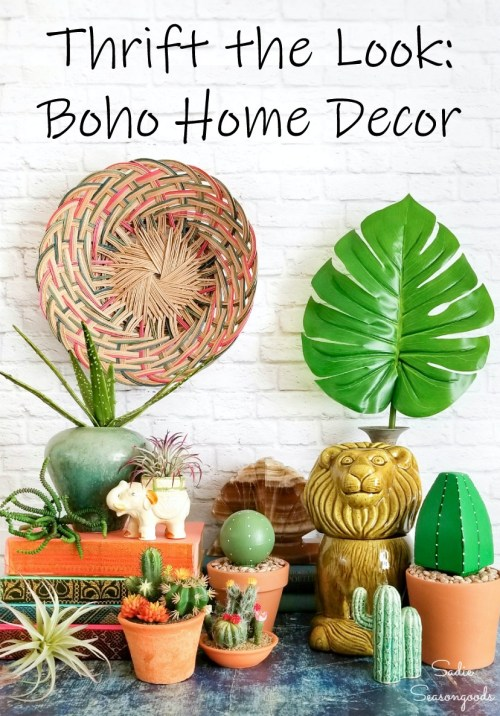 Boho Decor Ideas by thrift shopping and repurposing projects