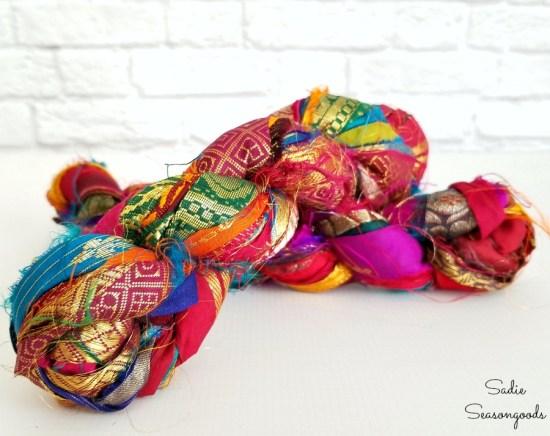 Sari ribbon from recycled sari fabric to create the boho room decor and bohemian style decor