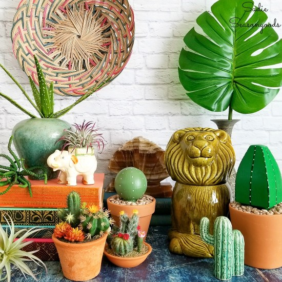 Thrift shopping for boho decor and upcycling ideas for fake cactus or succulents
