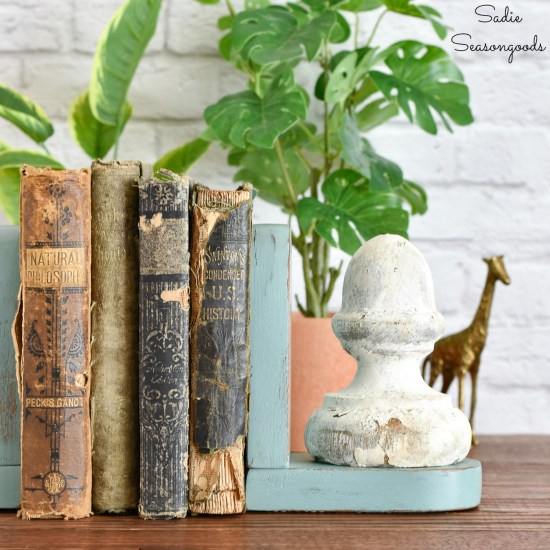 Wood bookends as vintage farmhouse decor with architectural antiques