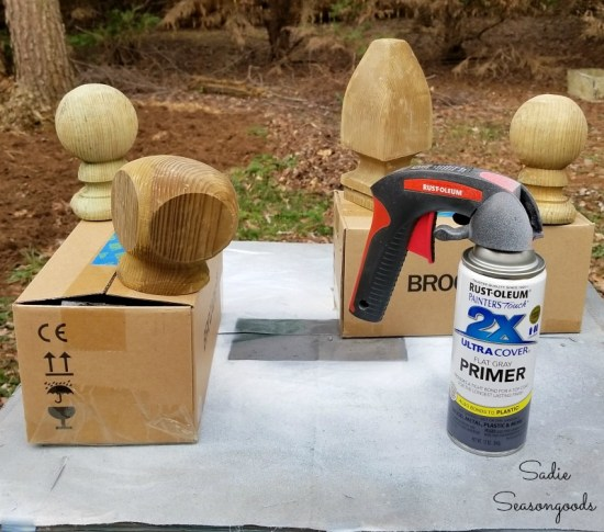 Spray primer on the post caps and wood finials before painting