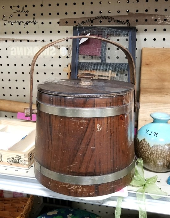 Vintage ice bucket at thrift store for upcycling into a flower bucket