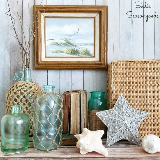 Beach cottage decor with thrift shopping and recycled craft ideas