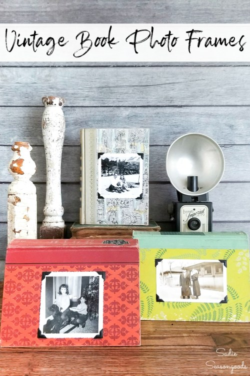Vintage books for decoration and upcycled into photo frames