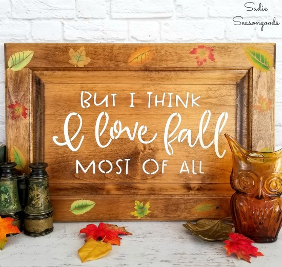 How to use fall stencils to create Fall leaves in the colors of autumn on a cabinet door sign