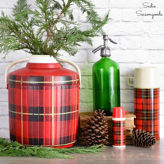 Christmas plaid on a Thermos cooler to look like a Skotch Kooler as vintage Christmas decorations