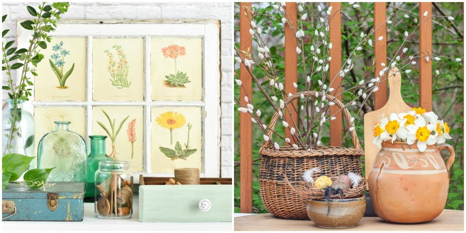Botanical Decor for Garden inspired Spring Decorating by the Creative Vintage Darlings