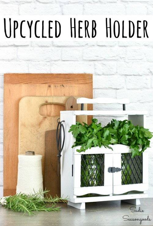 Herb saver or herb holder with a wooden caddy and decanter tantalus