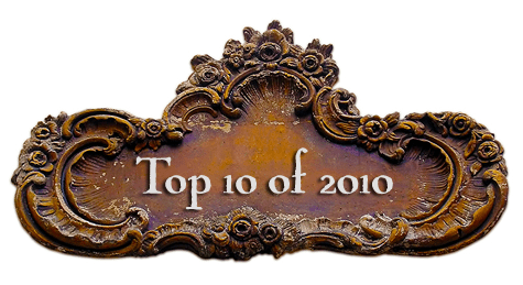 Antique plaque with text: Top 10 of 2010