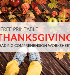 Thanksgiving Reading Comprehension Worksheets for Grades 1–5 PDF  Printables [ 768 x 1024 Pixel ]