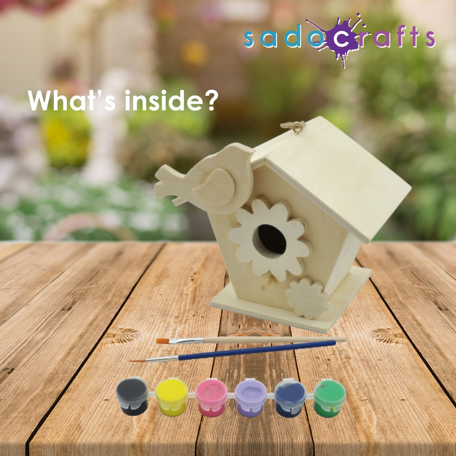 SadoCrafts Paint Your Own Birdhouse - Fun Interactive Educational DIY Wood Arts and Crafts Kit For Kids