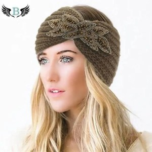 FREE SHIPPING Women's Beaded Knitted Wool Headbands Boho Flower Turban Accessories