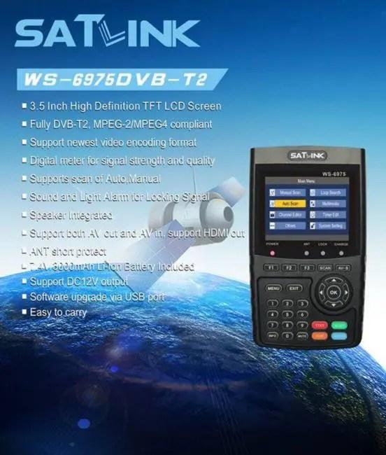 FREE SHIPPING SATLINK WS-6975 DVB-T2 Digital Satellite TV Receiver Satellite Meter Finder discount