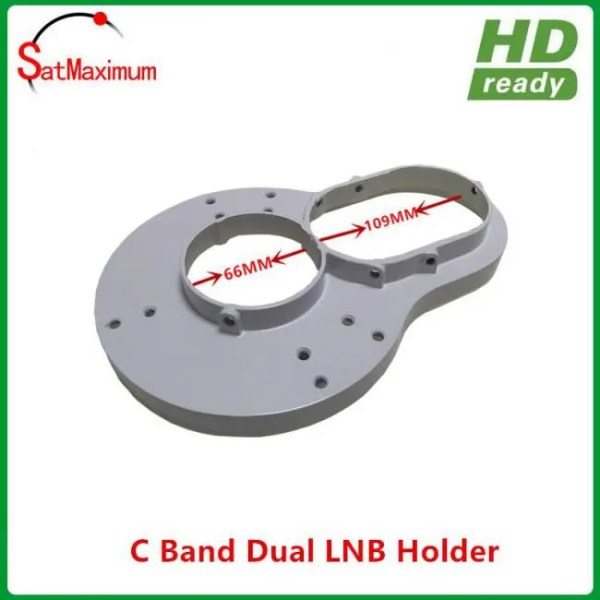 FREE SHIPPING 100% aluminium C band dual LNB holder/bracket for fixed 2pcs C band LNBF on c band dish c-band