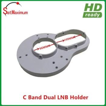 FREE SHIPPING 100% aluminium C band dual LNB holder/bracket for fixed 2pcs C band LNBF on c band dish c-band