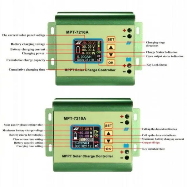FREE SHIPPING 10A MPPT Solar Panel Battery Regulator Charge Controller with LCD Color Display 24/36/48/60/72V with DC-DC Boost Charge Function 12V 24V 30A 50A 70A