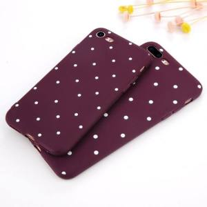 Phone Cases Stylish Design Wine Red Ploka Dots Soft TPU Back Cover For iPhone 8 Plus iPhone X XR XS Max 8