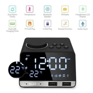 Clock Bluetooth Speaker Radio Alarm With USB Ports LED Digital Home Decor Snooze Phone Control Alarm