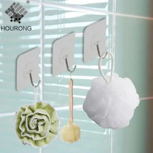 FREE SHIPPING 4Pcs Bearing 3KGS Strong Adhesive Wall Hook Transparent Kitchen Hooks 3KGS