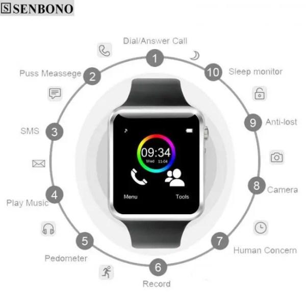 Electronic Gadgets A1 Bluetooth Sport Pedometer  Smart Watch with SIM Camera Smartwatch Bluetooth