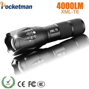 FREE SHIPPING LED Rechargeable Pocketman XML T6 linterna torch 4000 lumens 18650 Battery LED Flashlight 18650