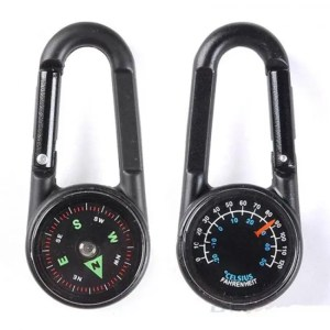 FREE SHIPPING Keychain Multifunctional Hiking Metal Carabiner and Mini Compass Thermometer angle