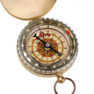 FREE SHIPPING Outdoor Camping Portable Brass Pocket Golden Double Display Compass angle