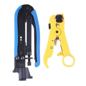 FREE SHIPPING Set of Coaxial Cable Stripper and Compression Crimping Tool For RG6 RG59 RG11 Cable