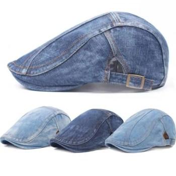 FREE SHIPPING Men Blue Denim Peaked Ivy Cap Golf Driving Flat Cabbie Newsboy Beret Hat HATCS0223 Beret