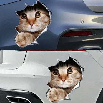 FREE SHIPPING Fashion car accessories 3D anime funny creative personality kitten simulation sticker 3D