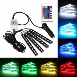 Accessories 4Pcs 12V Car RGB LED DRL Strip Light 12V