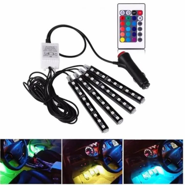 Accessories 4Pcs 12V Car RGB LED DRL Strip Light 12V