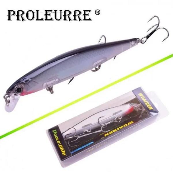 FREE SHIPPING Proleurre 1PCS Minnow Fishing Lure Laser Hard Artificial Bait 3D Eyes 11cm 14g Fishing Wobblers diving 0.2m-1m Crankbait Minnows 2019