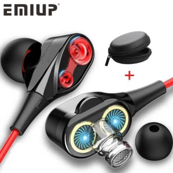 FREE SHIPPING Dual Drive Stereo Wired Earphone In-ear Headset Earbuds Bass Earphones For IPhone Samsung 3.5mm Sport Gaming Headset With Mic Free shipping