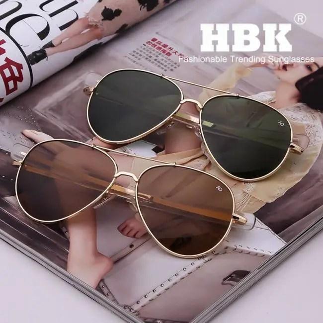 4ae4af1748 HBK Army MILITARY MacArthur Aviation Style AO General Pilot American  Optical Glass Lens Men Sun Glasses Oculos De Sol K40024 - Sadoun Sales  International