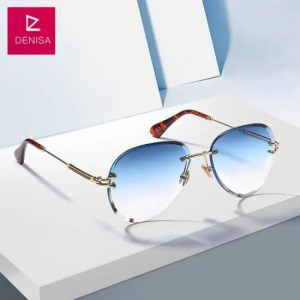 Car & Motorbike DENISA Fashion Blue Red Aviation Sunglasses Women Men Driving UV400 Sun Glasses Clear Vintage Glasses zonnebril dames G18475 American