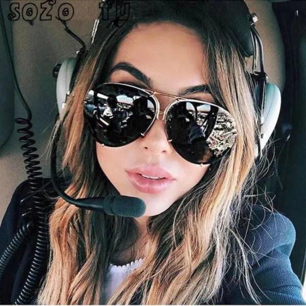 Car & Motorbike SOZO TU oversize sunglass women rimless Big Sunglasses Women Ladies Large Aviation Sunglasses Female Oversized Glasses American