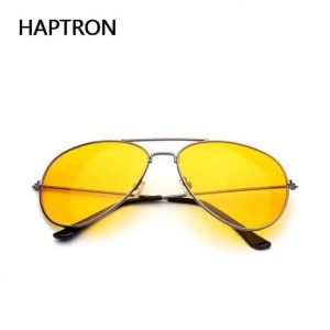 Car & Motorbike HAPTRON Yellow Sunglasses Women Men Night Vision Goggles Driving Glasses Driver Aviation Sun Glasses UV400 American