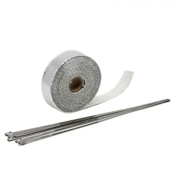 Car & Motorbike ZS MOTOS 1.5 mm*25 mm*5 m Exhaust Pipe Header Heat Wrap Resistant Downpipe  Stainless Steel Ties for Car Motorcycle Accessories 1.5